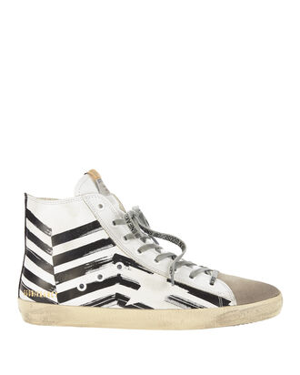 Francy Flag Print High-Top Sneakers, WHITE, hi-res