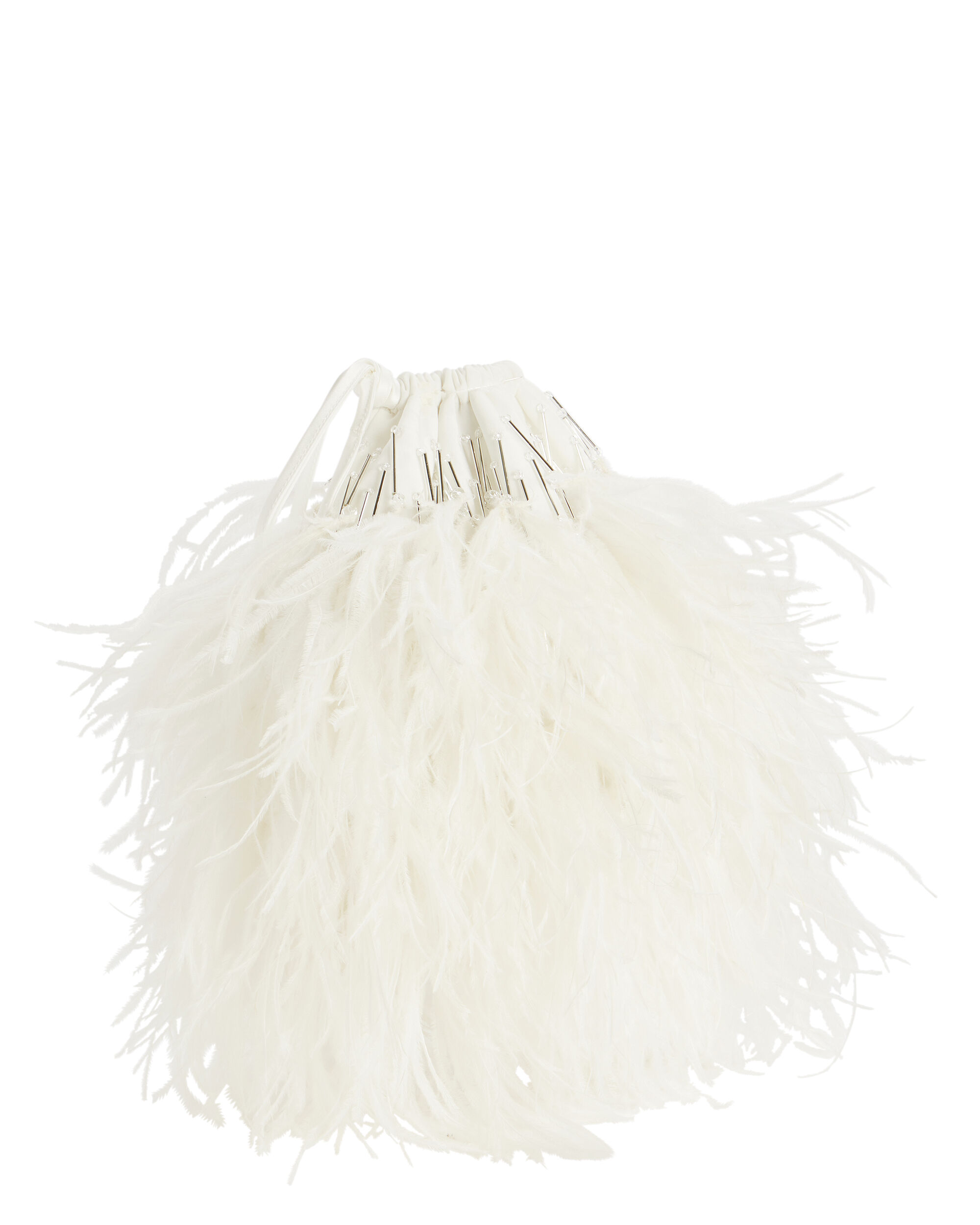 White Feather Pouch Bag, WHITE, hi-res