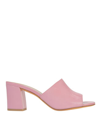 Mae Patent Leather Sandal Slides, PINK, hi-res
