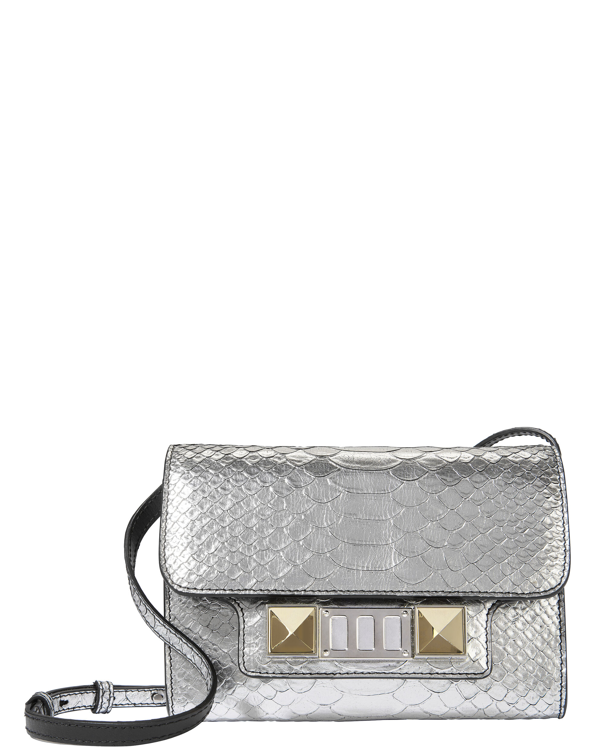 PS11 Python-Embossed Small Wallet Crossbody Bag, METALLIC, hi-res