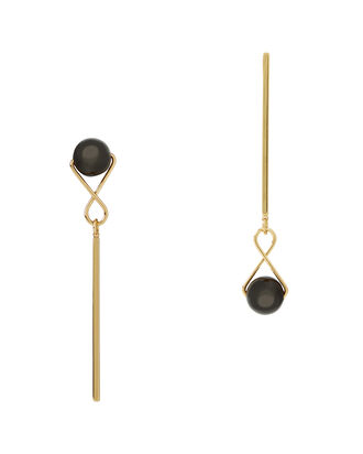 Mismatched Orb Drop Earrings, GOLD, hi-res