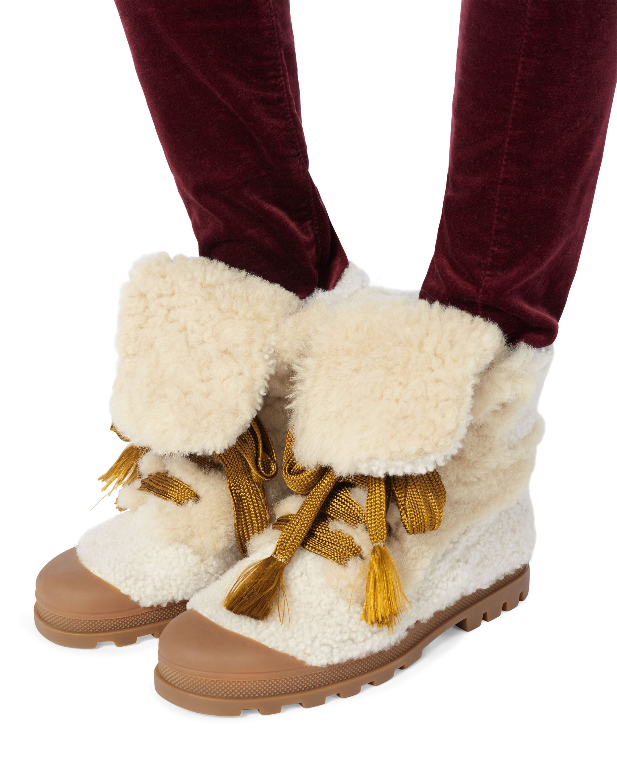 Parker Shearling Booties, IVORY, hi-res