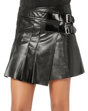 Leather Buckle Pleated Skirt, BLACK, hi-res