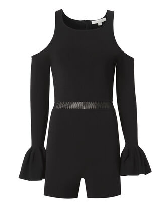 Cold Shoulder Black Knit Romper, BLACK, hi-res