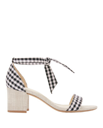 Clarita Gingham Sandals, BLACK/WHITE, hi-res