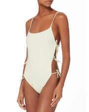Lily Tie Side One Piece Swimsuit, WHITE, hi-res