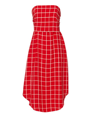 Fly Away Windowpane Dress, RED, hi-res