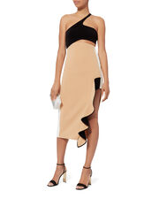 Asymmetric Ruffle Split Dress, BEIGE, hi-res