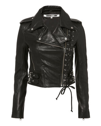 Lace-Up Leather Moto Jacket, BLACK, hi-res