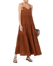Floral Appliqué Maxi Dress, BROWN, hi-res
