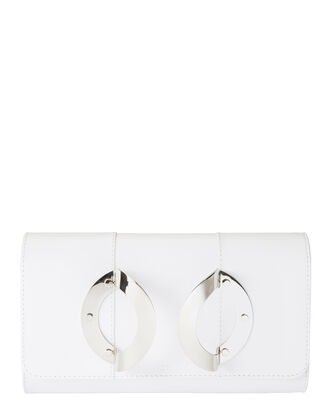 La Croisiere Metal Hand Strap Leather Clutch, WHITE, hi-res