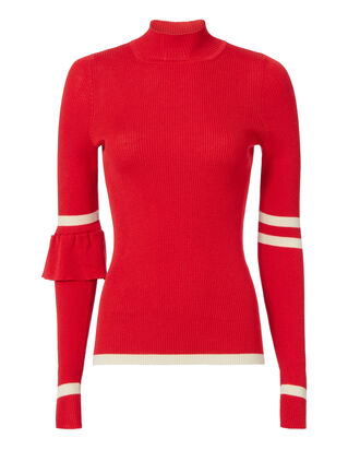 Heart Whisper Ruffle Knit Top, RED, hi-res