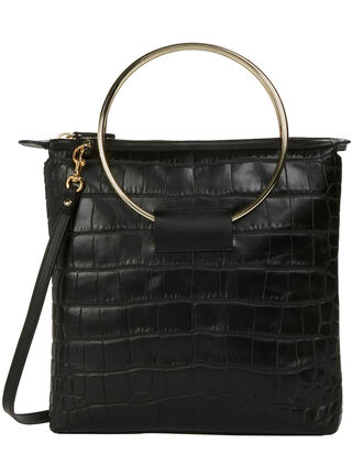 Ring Handle Crocodile Shoulder Bag, BLACK, hi-res