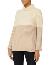 Mireya Colorblocked Turtleneck Sweater, NUDE, hi-res