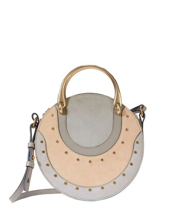 Pixie Mixed Look Circle Bag, GREY, hi-res