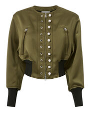 Dark Green Pearl Bomber Jacket, GREEN, hi-res