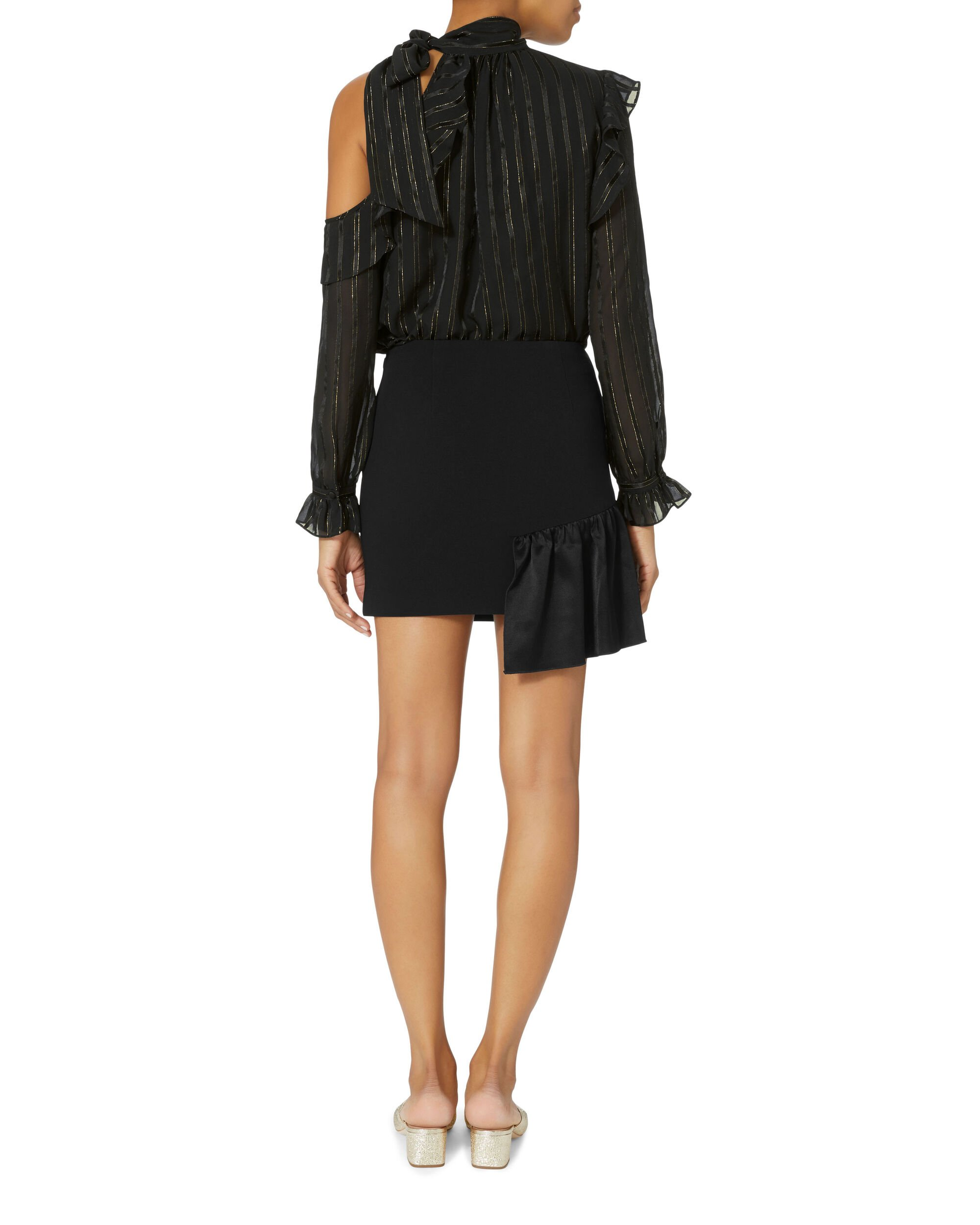 Ruffle Mini Skirt, BLACK, hi-res