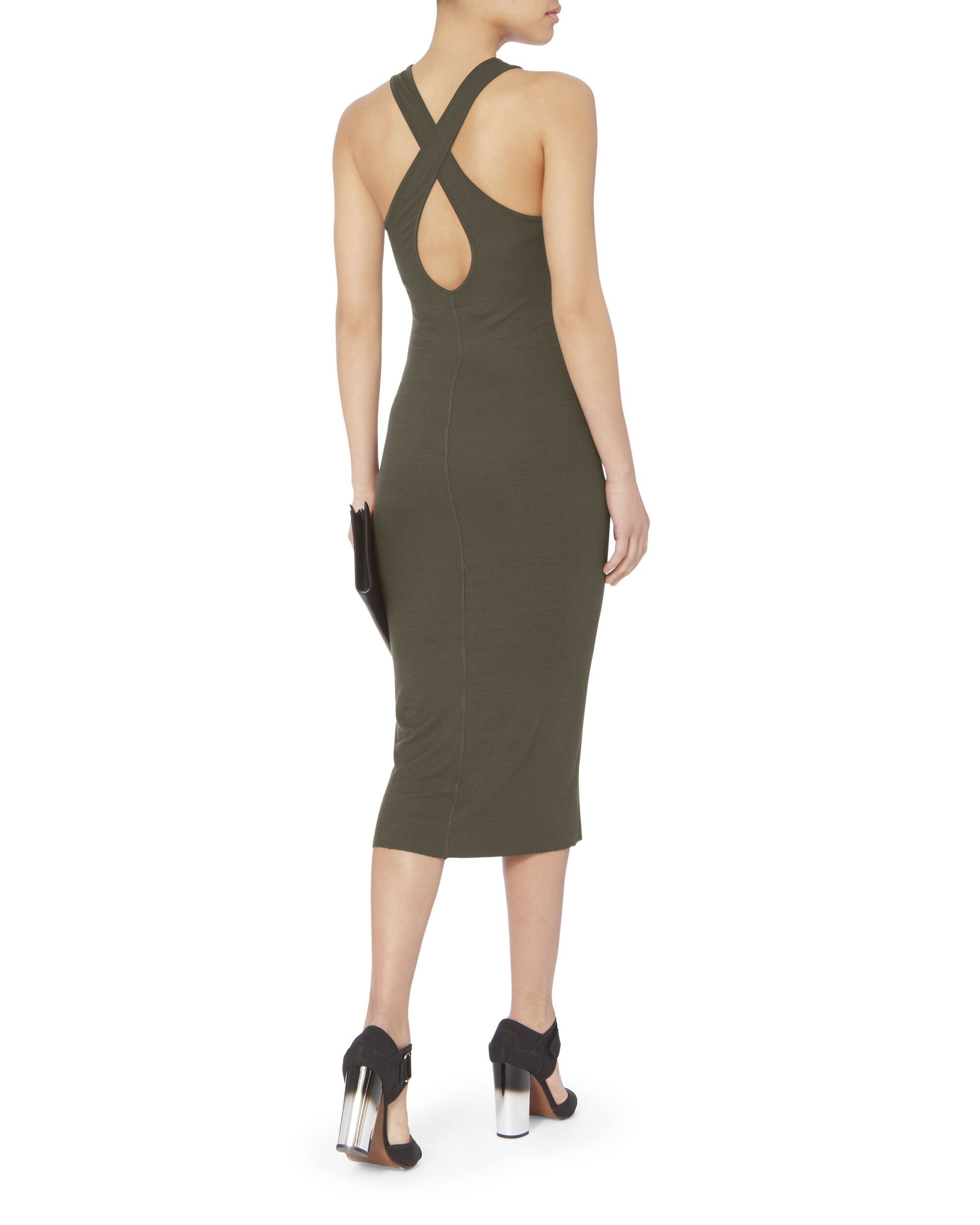 Cross Back Tank Dress, OLIVE/ARMY, hi-res