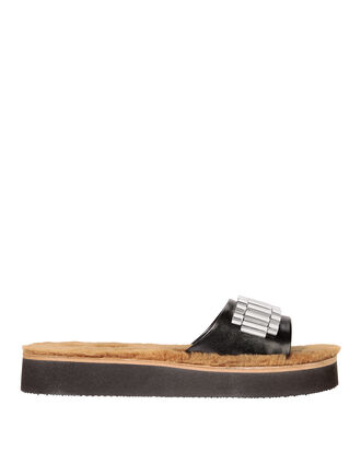 Eva Shearling Slides, BROWN, hi-res