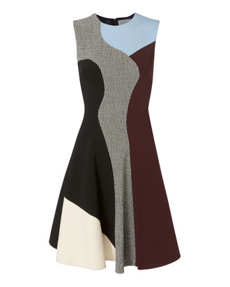 Panel Colorblock Flare Mini Dress, BLK/WHT, hi-res