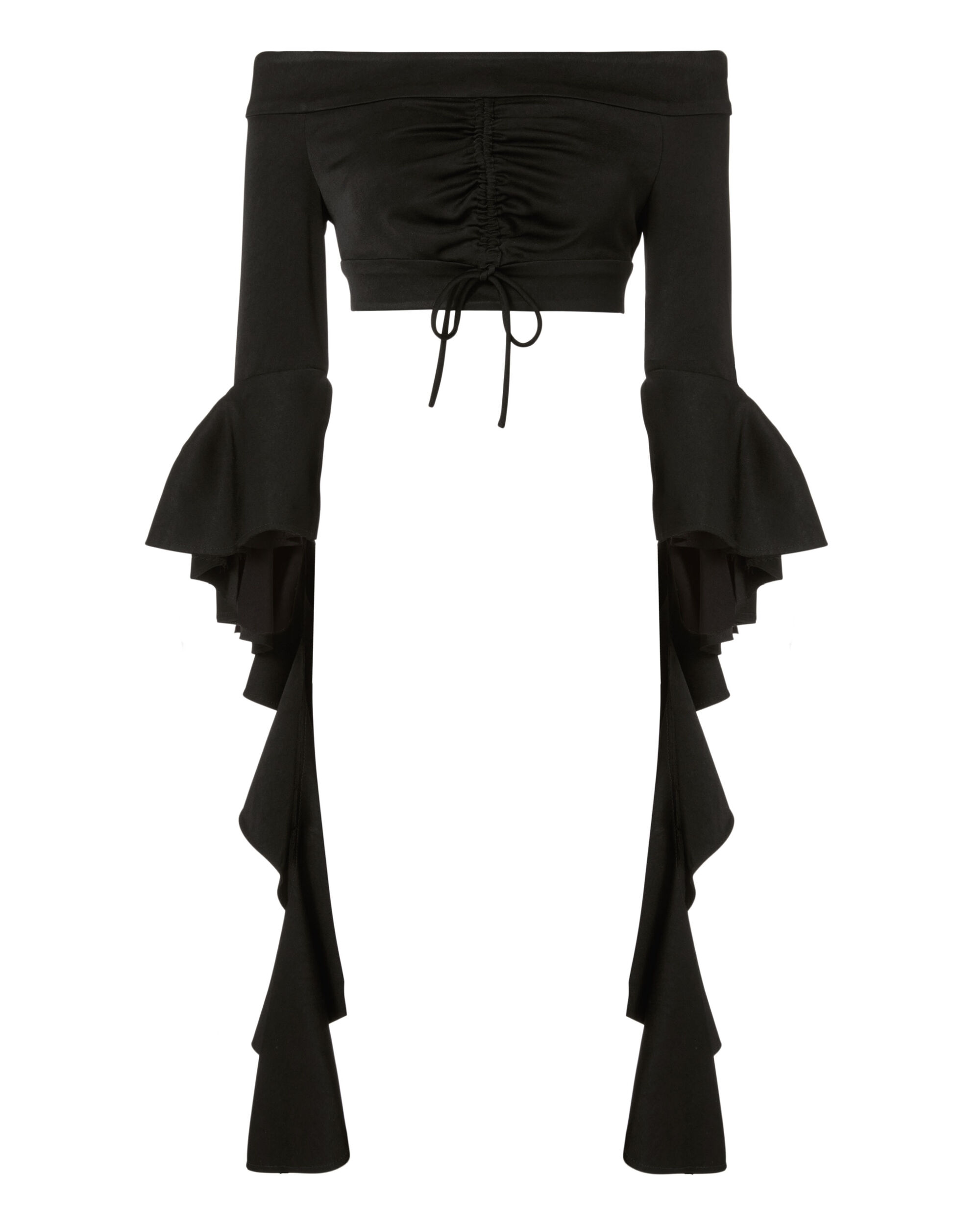 High Noon Frill Sleeve Crop Top, BLACK, hi-res