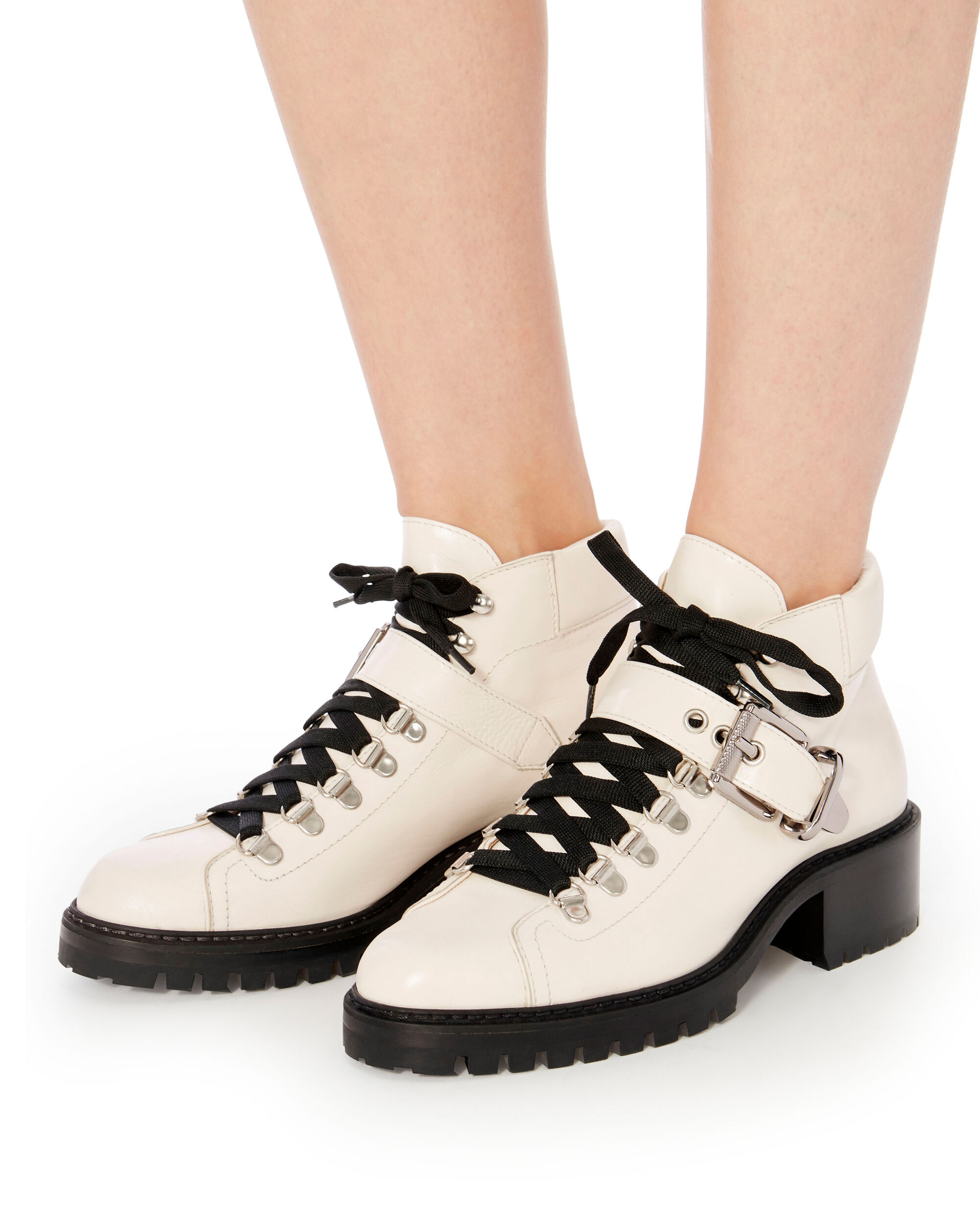 Lug Sole White Hiker Boots, WHITE, hi-res
