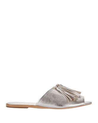 Kiki Metallic Tassel Slide Flat Sandals, METALLIC, hi-res