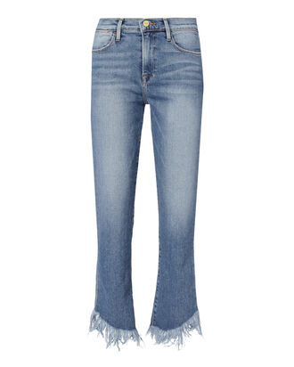Le High Straight Fringe Hem Jeans, DENIM, hi-res
