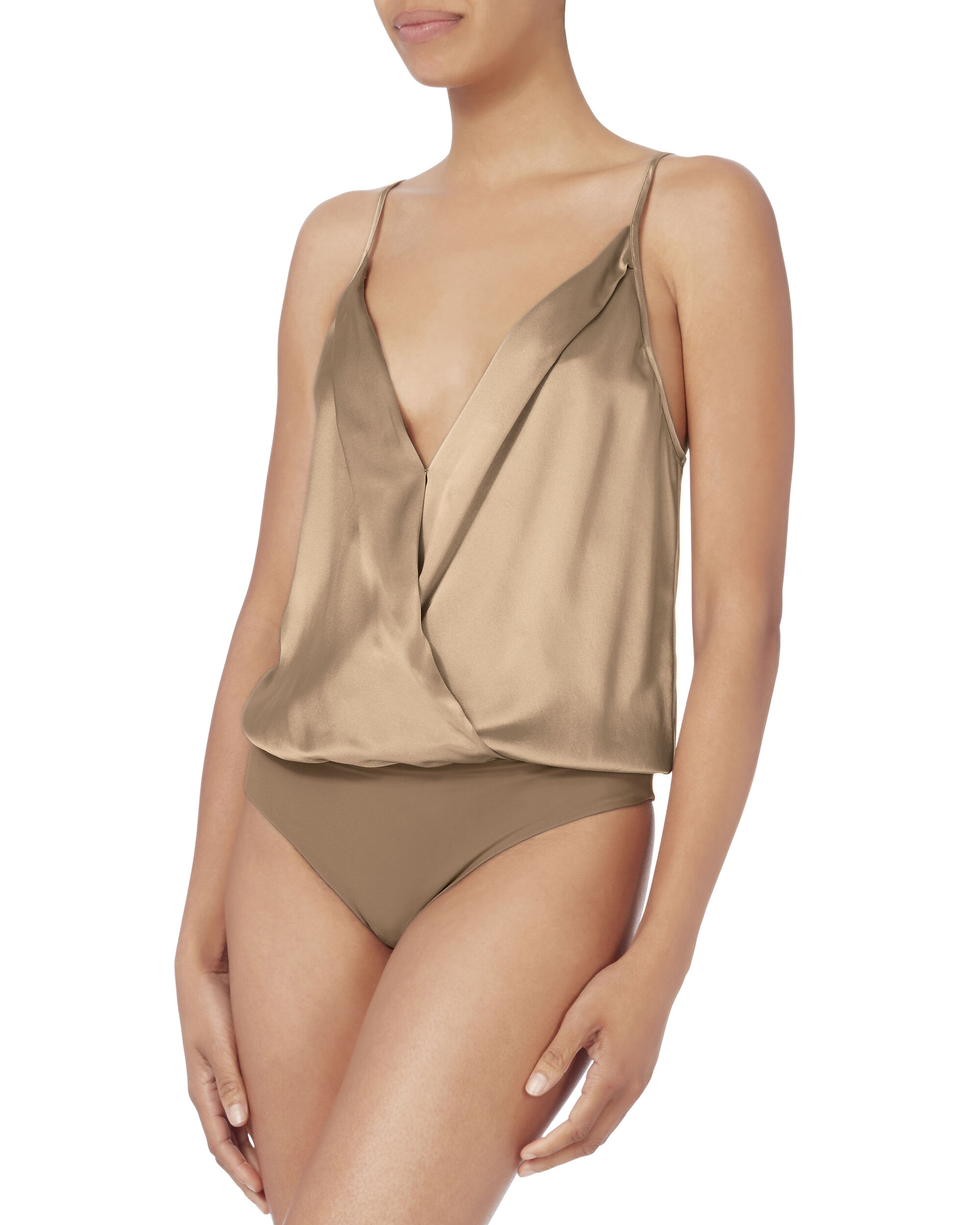 Silk Cami Cross Front Bodysuit, , hi-res