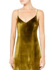 V-Neck Mustard Velvet Gown, GOLD, hi-res