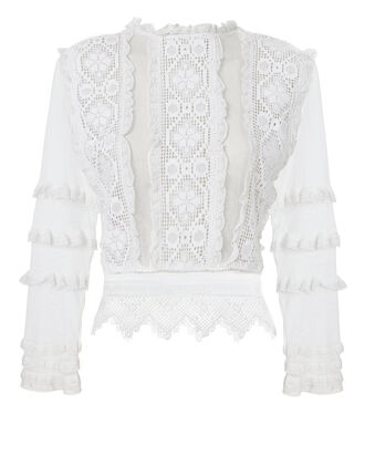 Provence Lace Sheer Blouse, WHITE, hi-res