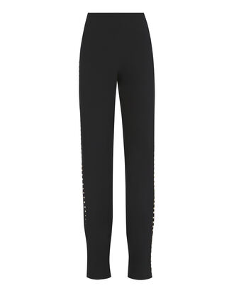 Pearl Studded Black Pants, BLACK, hi-res