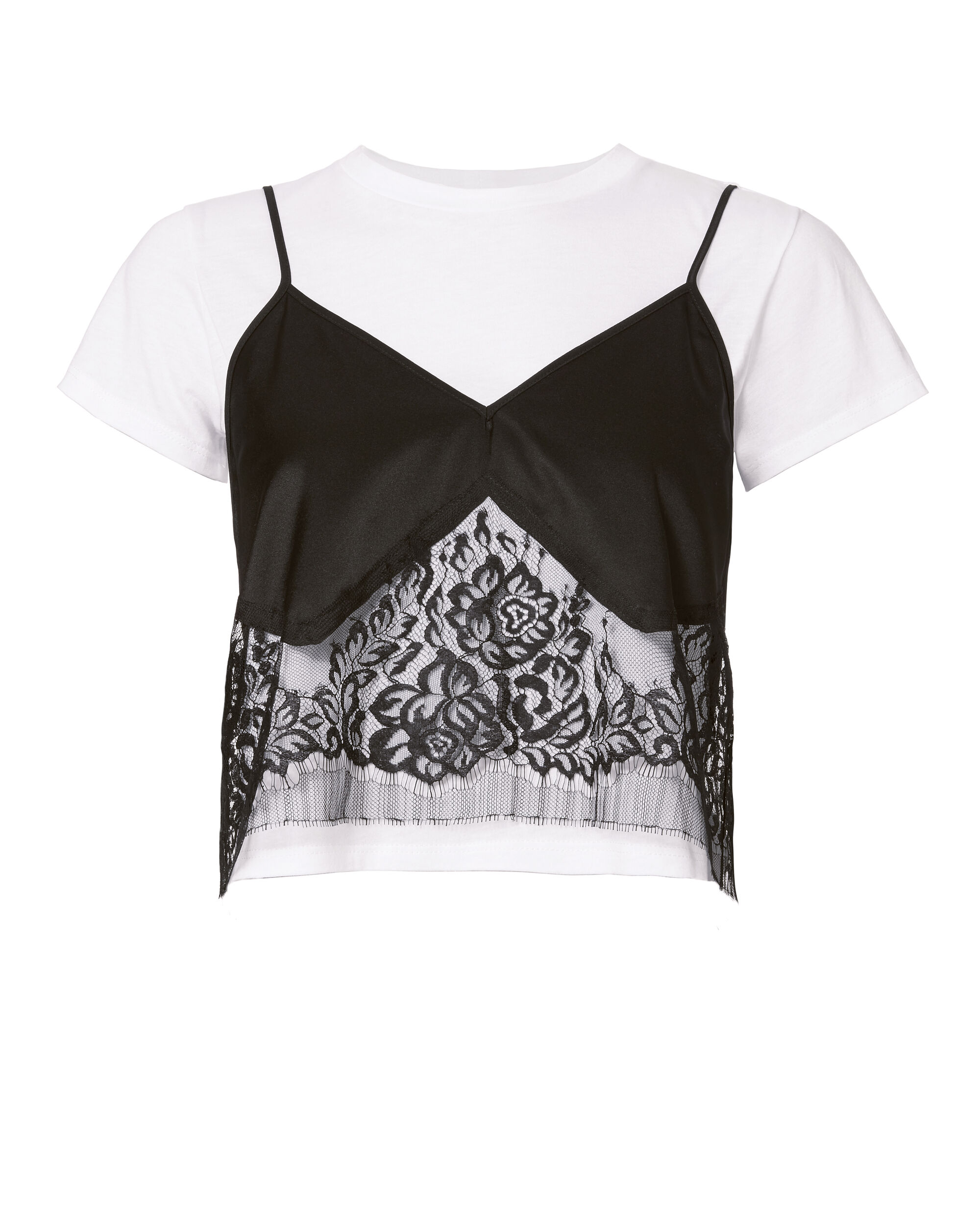 Lace Camisole Layered Tee, BLACK/WHITE, hi-res