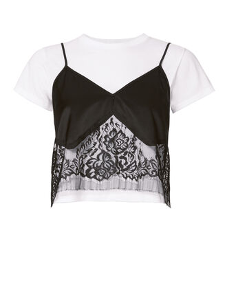 Lace Camisole Layered Tee, BLK/WHT, hi-res