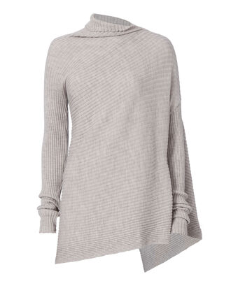 Draped Asymmetric Knit Sweater, GREY, hi-res