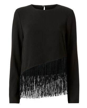 Hudson Fringe Detail Top, BLACK, hi-res