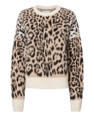 Leopard Crewneck Knit Sweater, PRINT, hi-res