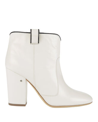 Pete White Leather Booties, BLACK/WHITE, hi-res