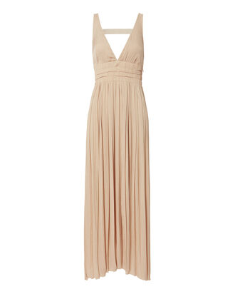 Ellison Pleated Maxi Dress, BEIGE/KHAKI, hi-res