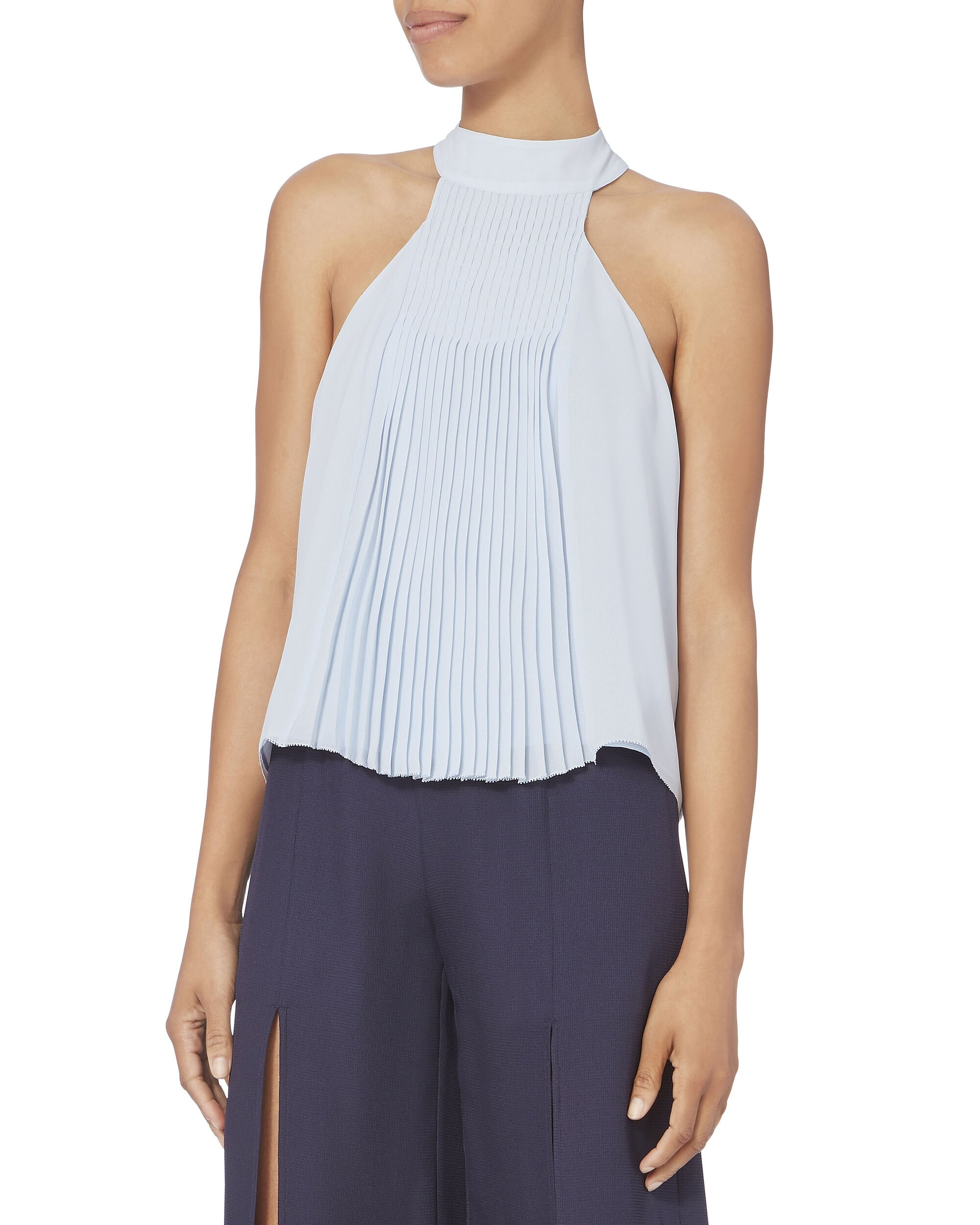 Blair Pleated Top, BLUE-LT, hi-res