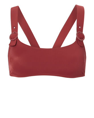 Evelyn Buckle Bikini Top, RED, hi-res