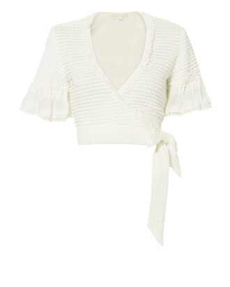 Wrapped Knit Cropped Top, IVORY, hi-res