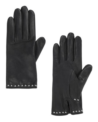 Studded Black Leather Gloves, BLACK, hi-res