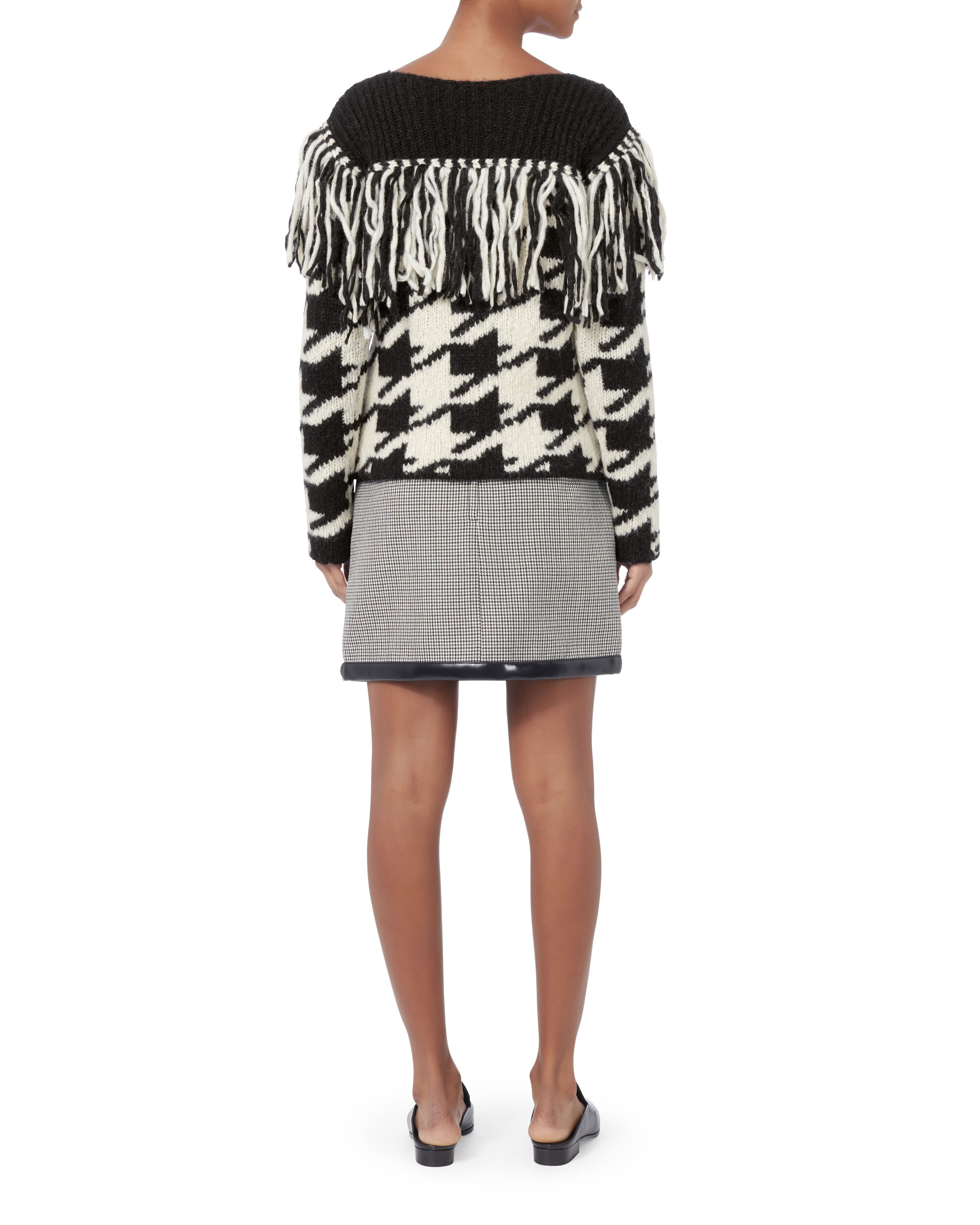 Houndstooth Long Sleeve Sweater, BLACK/WHITE, hi-res