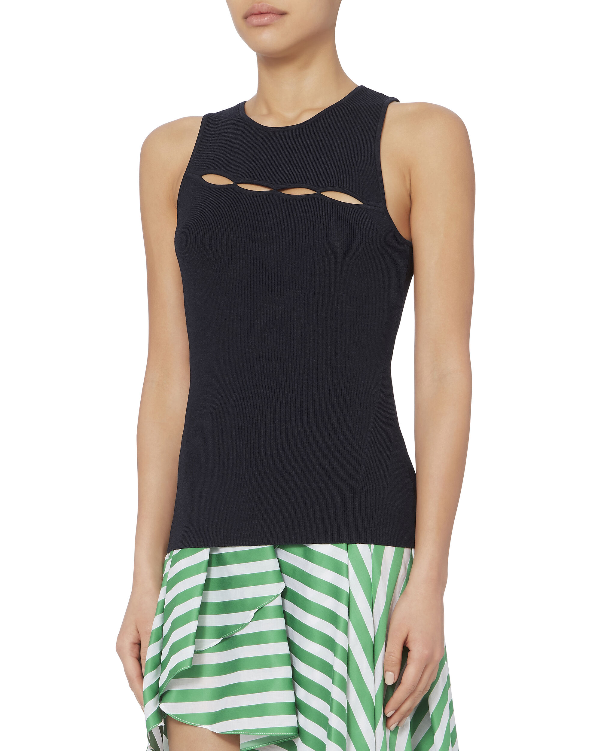 Sheridan Cutout Detail Knit Tank, NAVY, hi-res