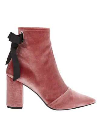 Robert Clergerie X Self-Portrait Karlit Pink Velvet Lace-Up Booties, PINK, hi-res