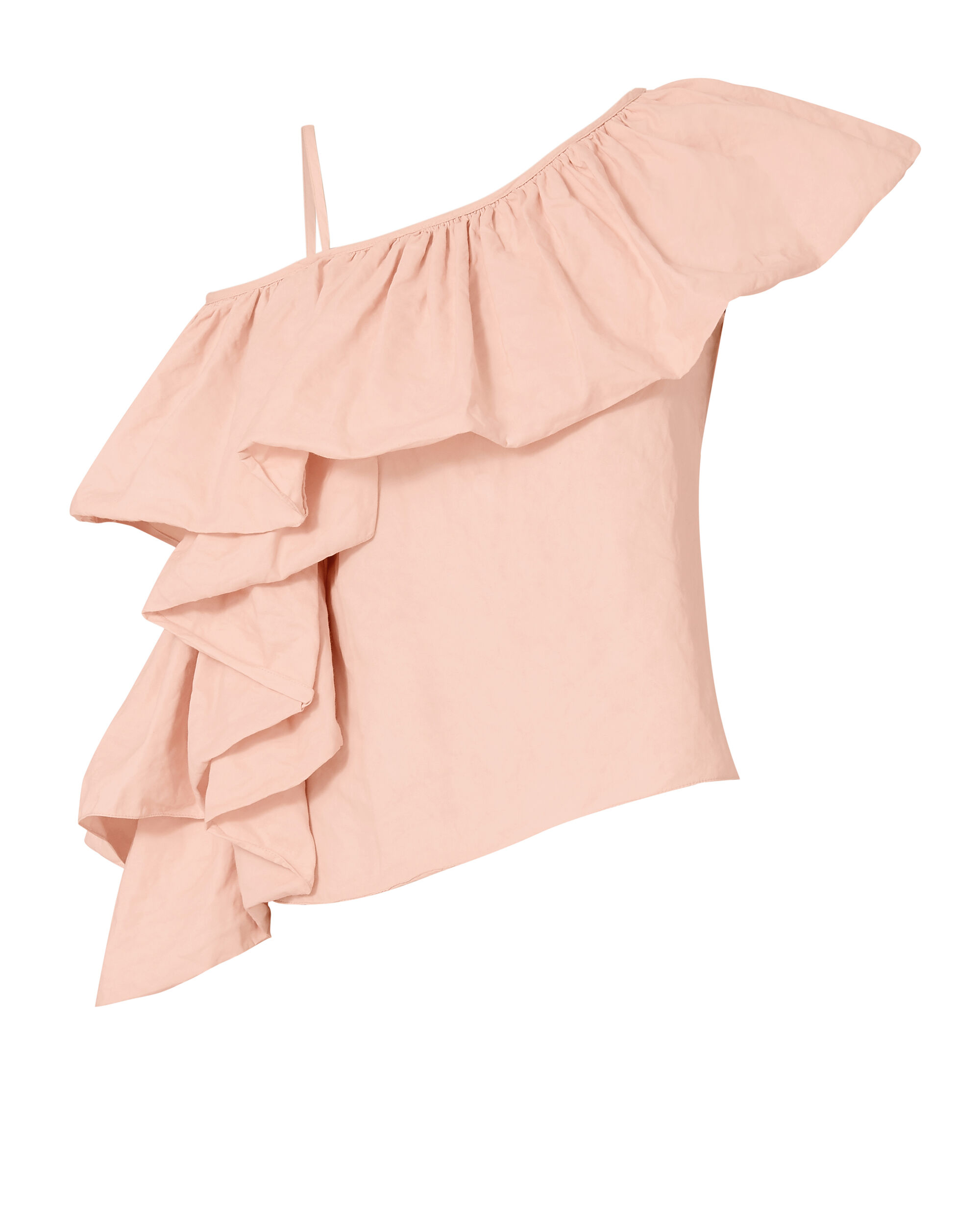 Exaggerated Ruffle One Shoulder Top, PINK, hi-res