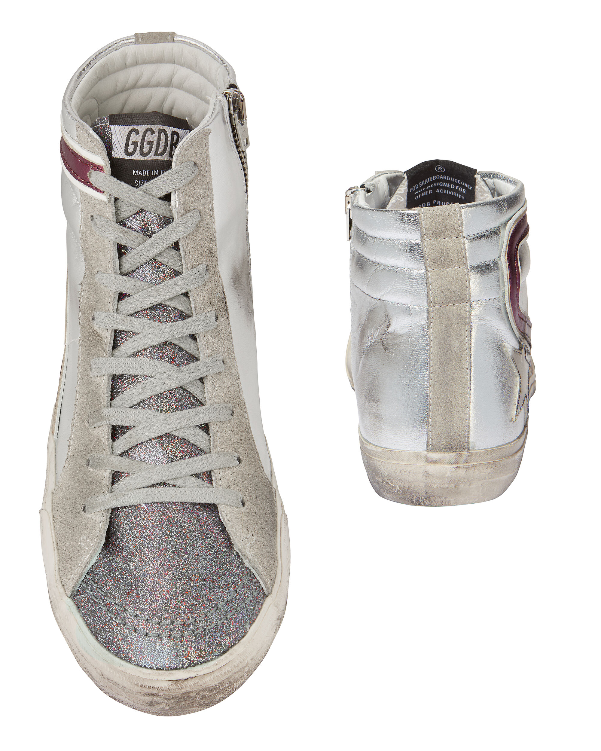 Glitter Tongue High-Top Leather Sneakers, METALLIC, hi-res