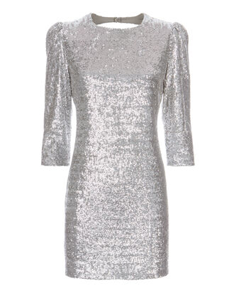 Silver Sequin Mini Dress, SILVER, hi-res