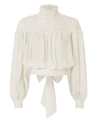 Tie Back Smocked Blouse, IVORY, hi-res